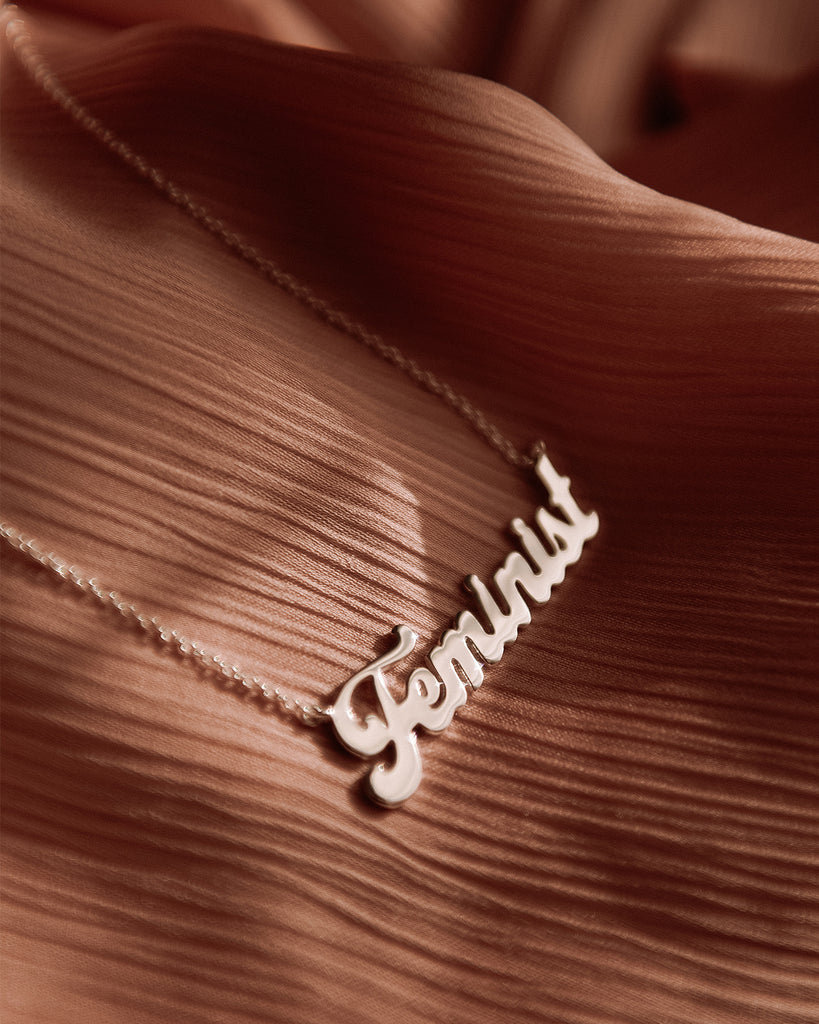Feminist Sterling Silver Script Nameplate Necklace