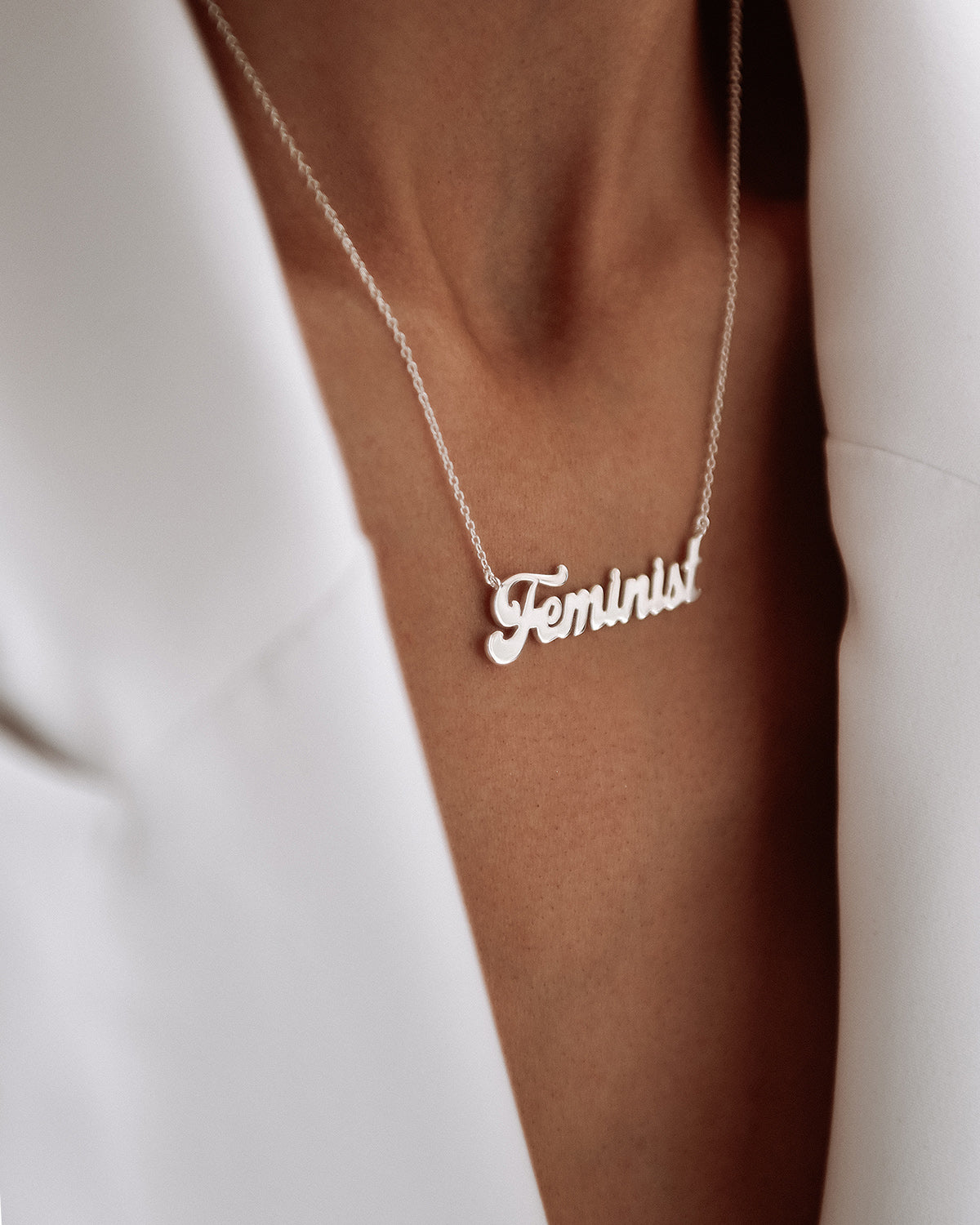 Image of Feminist Sterling Silver Script Nameplate Necklace