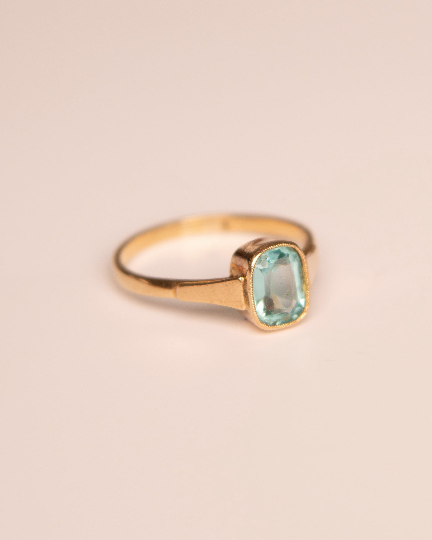 Image of Fern 9ct Gold Vintage Blue Paste Ring