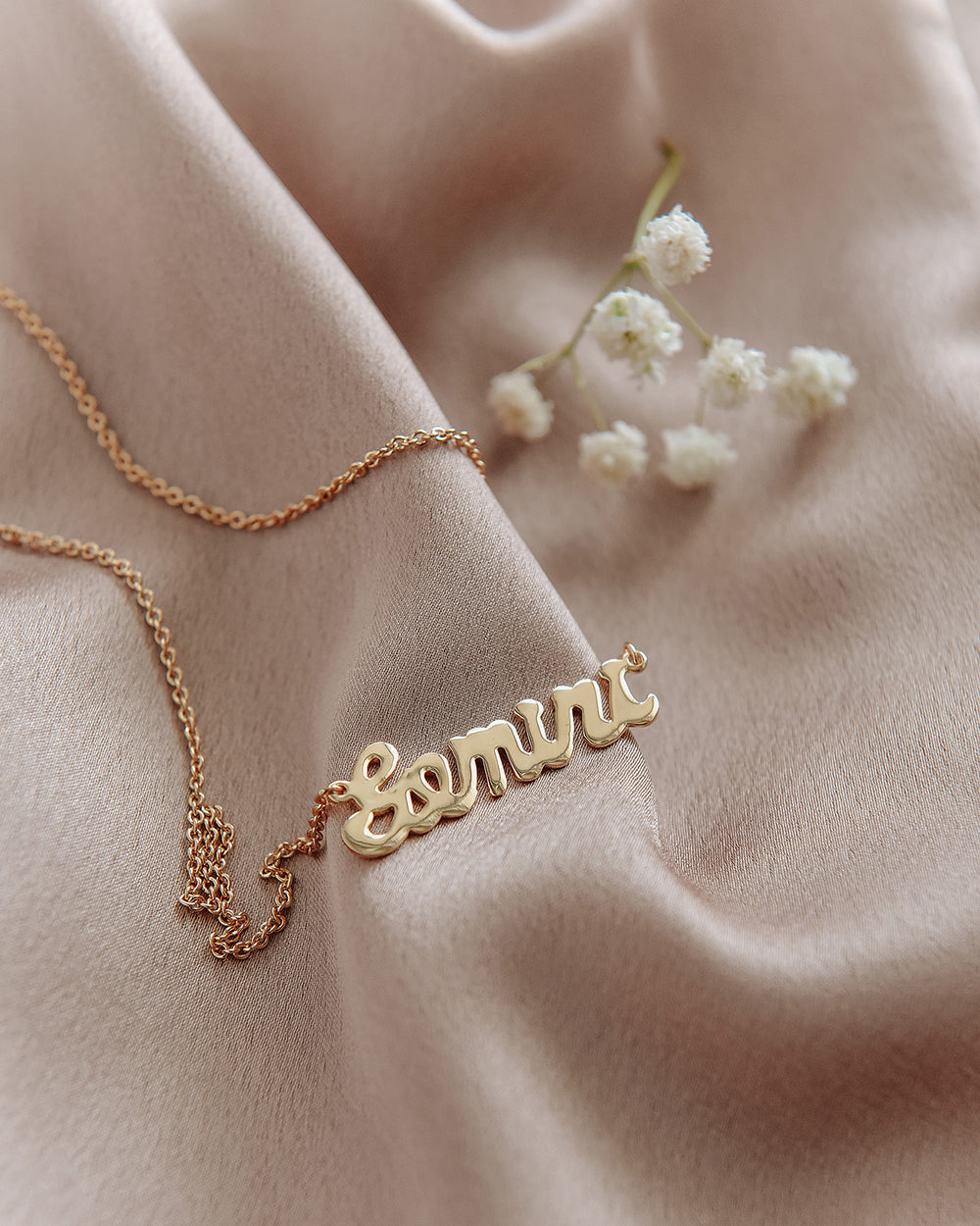 Gemini Zodiac Nameplate Necklace