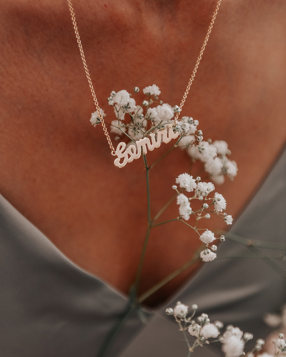 Image of Gemini Zodiac Nameplate Necklace