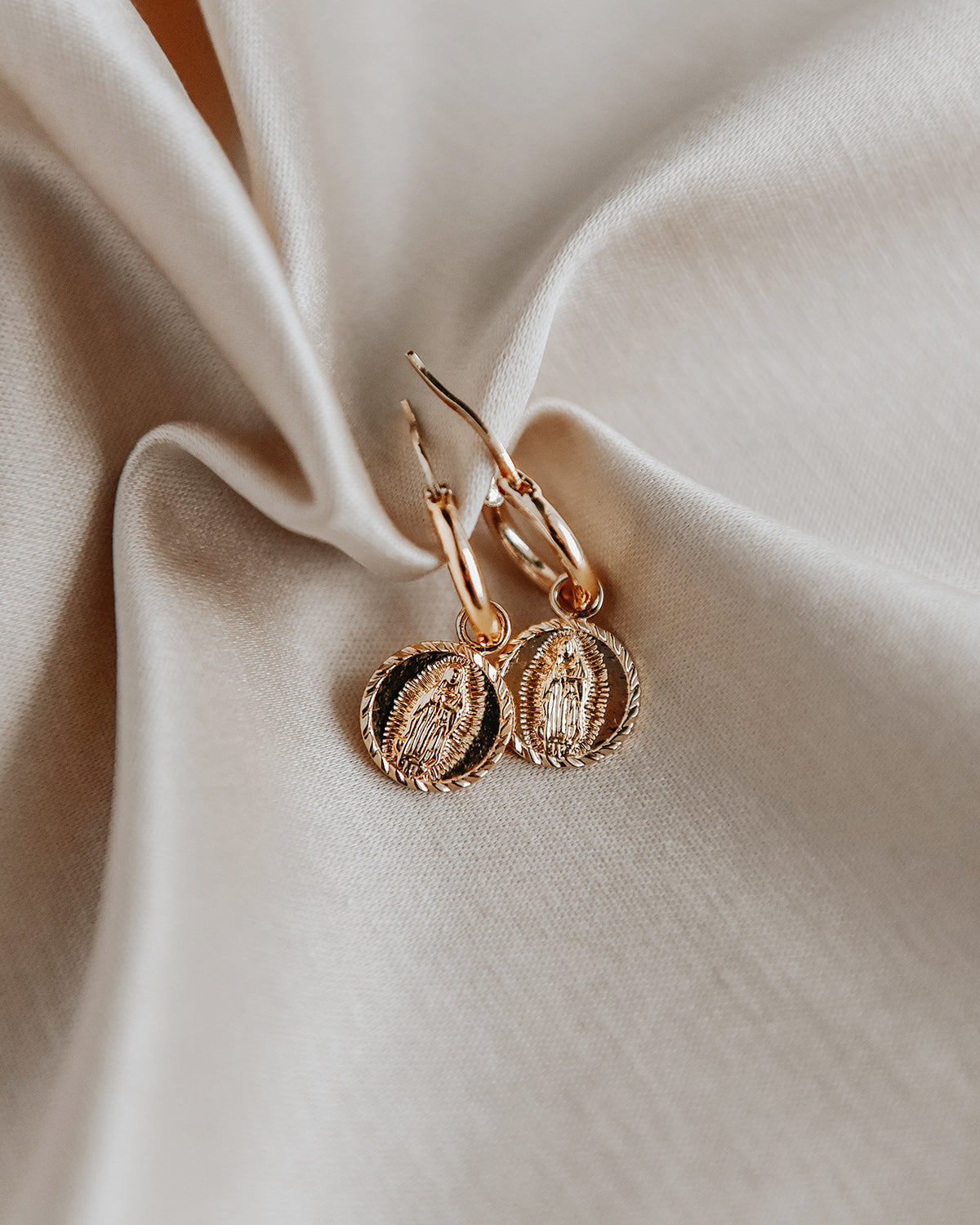 Image of Guadalupe Medal Hoop Earrings