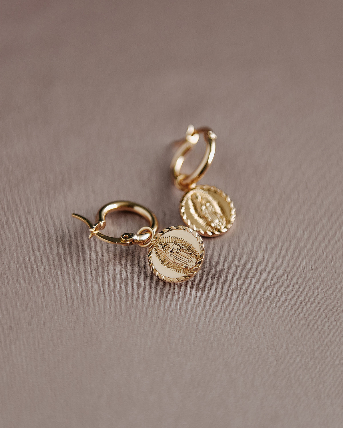 Guadalupe Medal Hoop Earrings