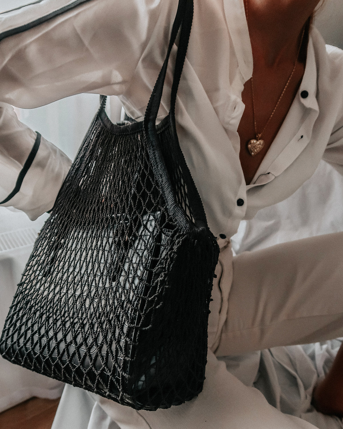 Savannah String Shopper Bag - Black