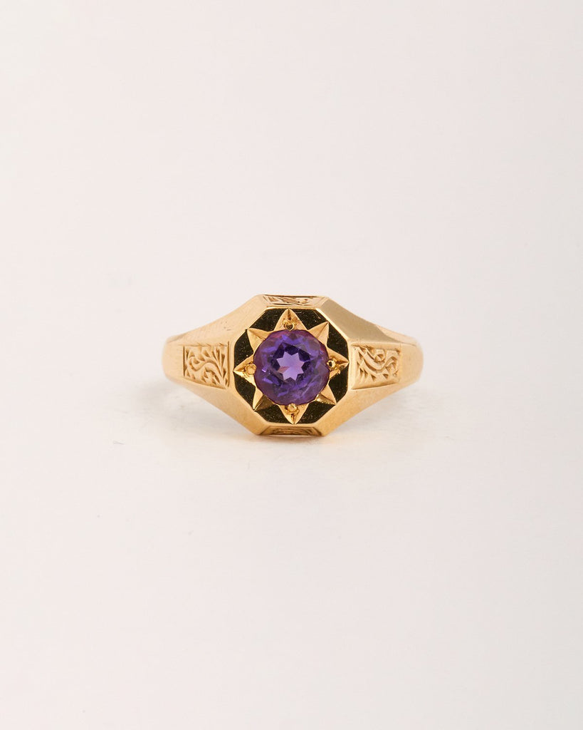 Jean Exclusive Vintage 9ct Gold Amethyst Signet Ring