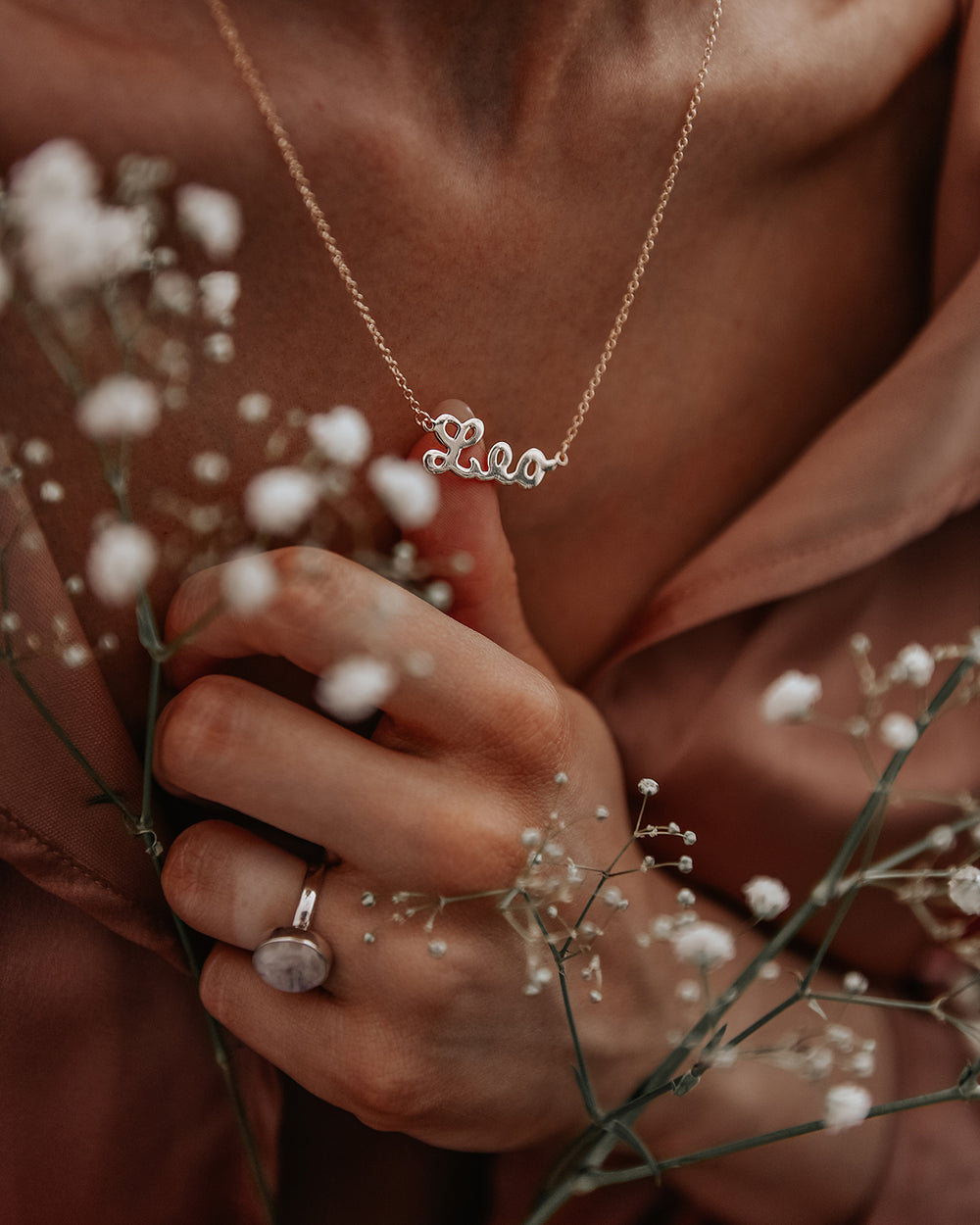 Leo Zodiac Nameplate Necklace