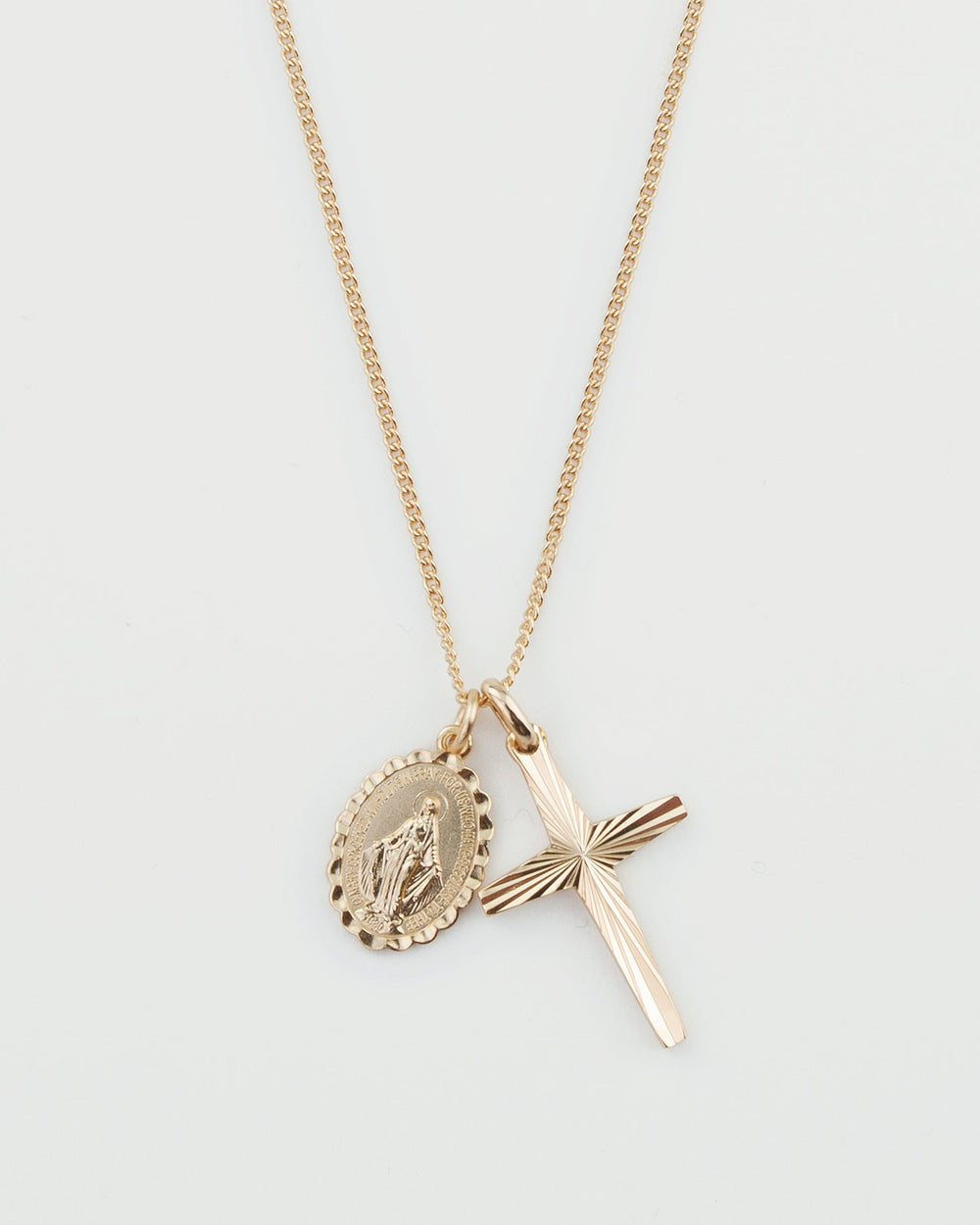 Magdalene Medal & Cross Double Pendant Necklace