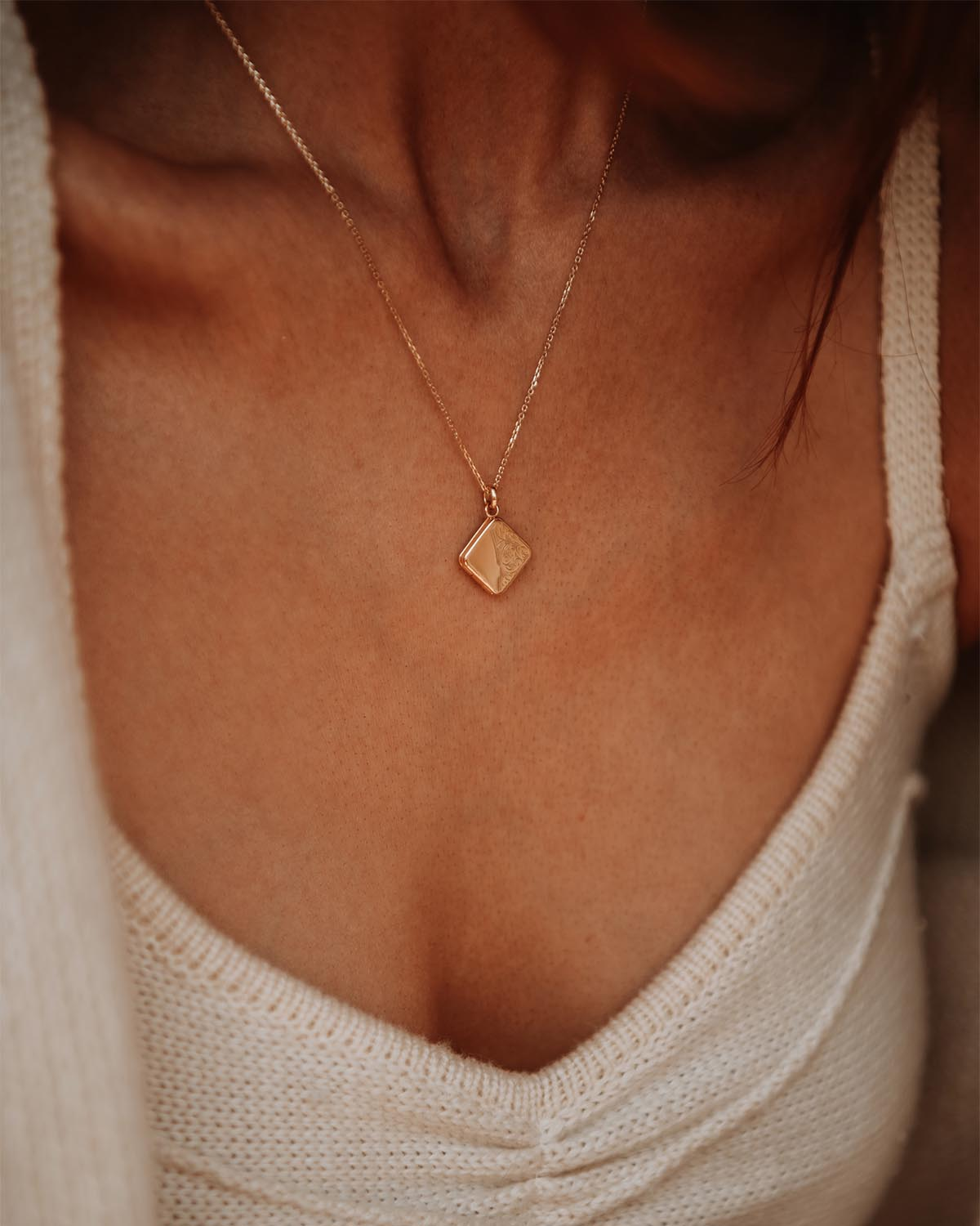 Image of Margaret Gold Vermeil Locket Necklace
