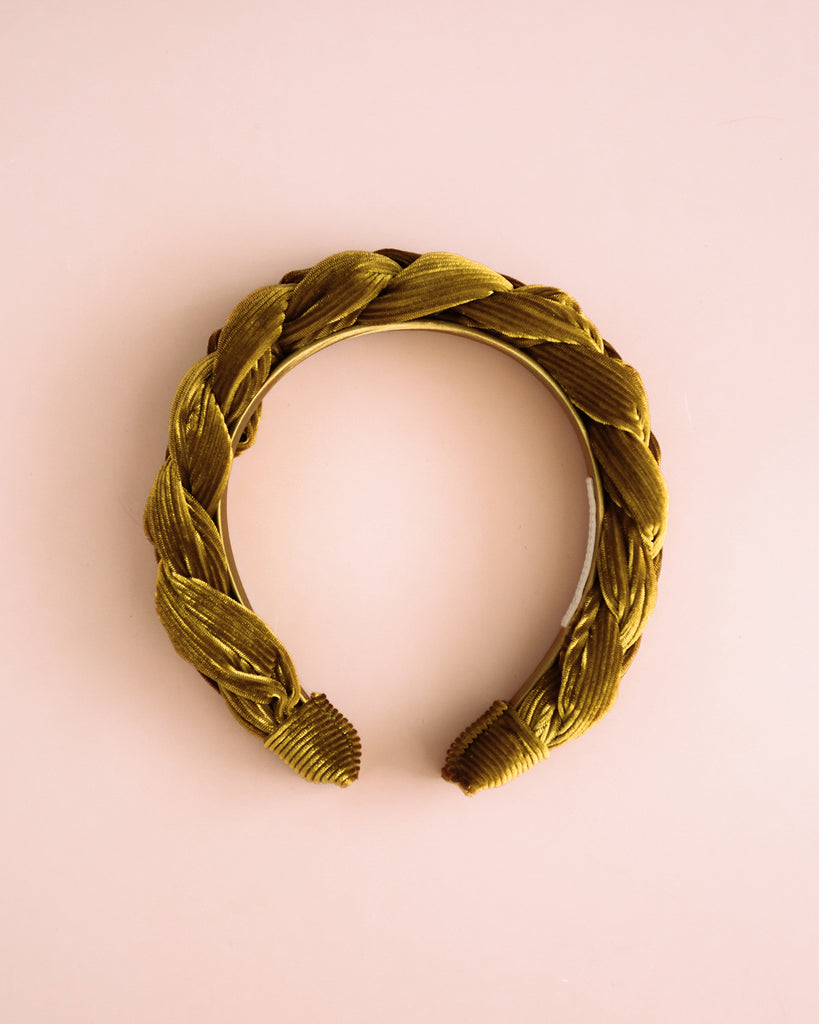 Millicent Honey Velvet Plaited Headband