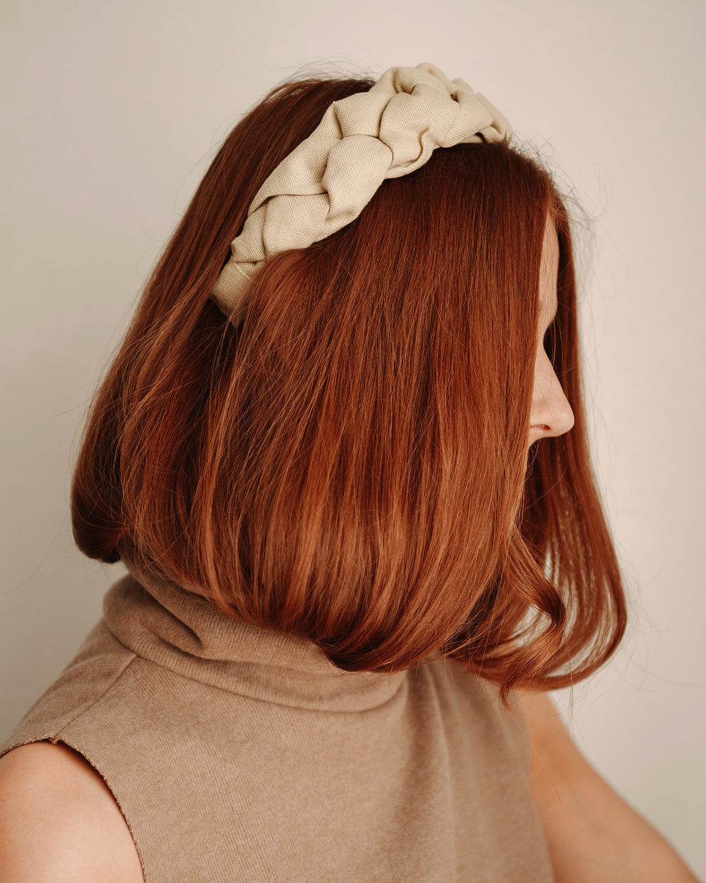 Millicent Natural Linen Plaited Headband