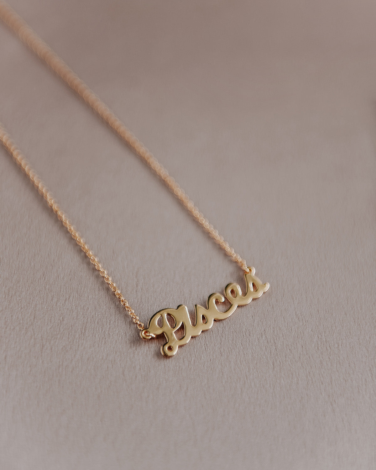 Pisces Zodiac Nameplate Necklace