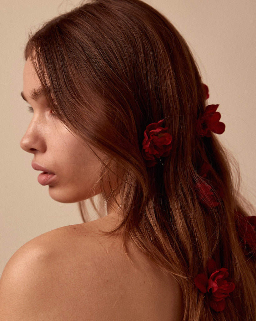 Franny Flower Hair Pins - Red