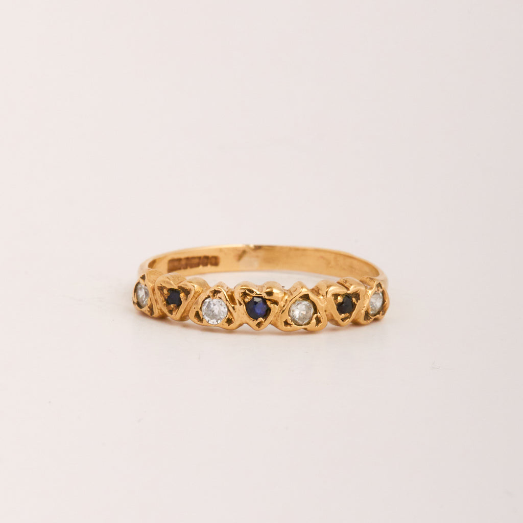 Gilda Exclusive Vintage 9ct Gold Sapphire & CZ Ring