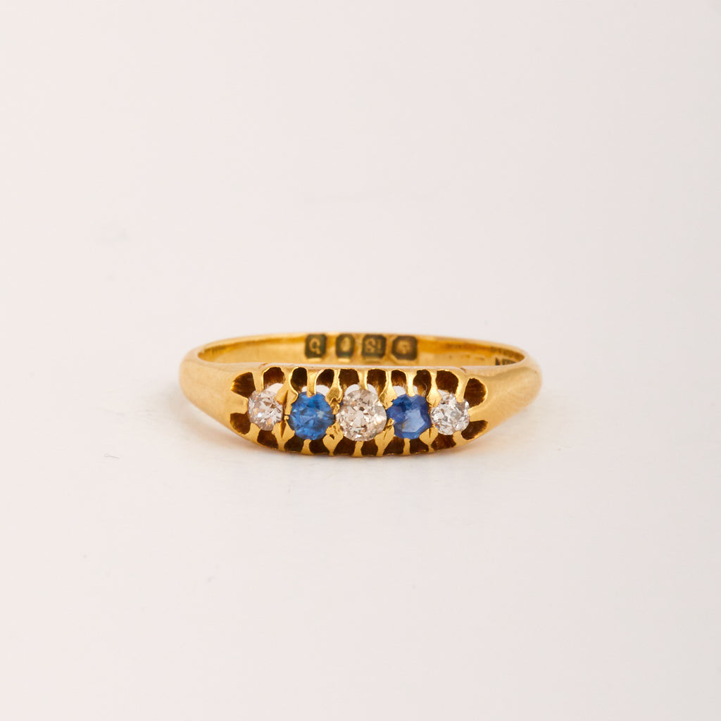 Primrose Exclusive Vintage 9ct Gold Sapphire & Diamond Ring