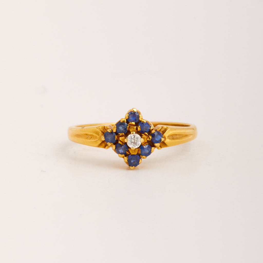 Meryl Exclusive Vintage 18ct Gold Sapphire & Diamond Ring