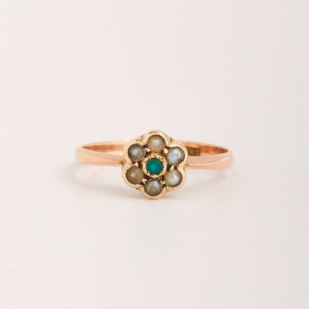 Elspeth Exclusive Vintage 9ct Gold Turquoise & Pearl Ring