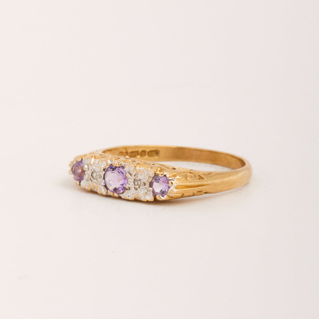 Effie Exclusive Vintage 9ct Gold Amethyst & Diamond Ring