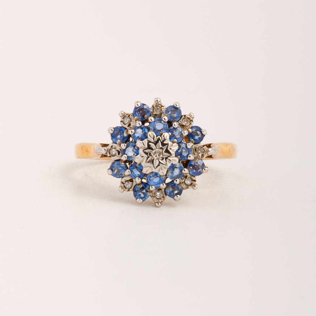 Image of Romilly Exclusive Vintage 9ct Gold Sapphire & Diamond Ring