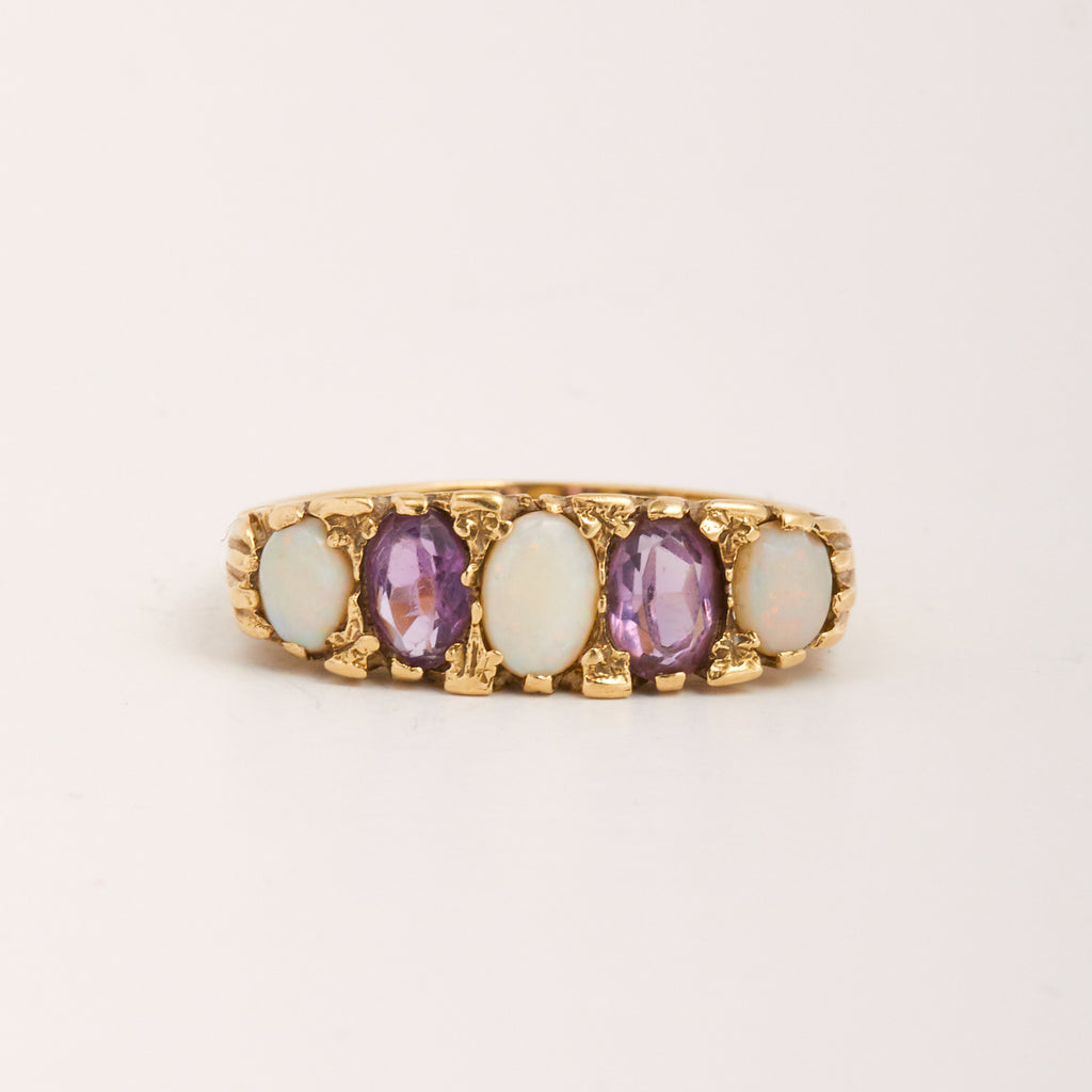 Faith Exclusive Vintage 9ct Gold Opal & Amethyst Ring