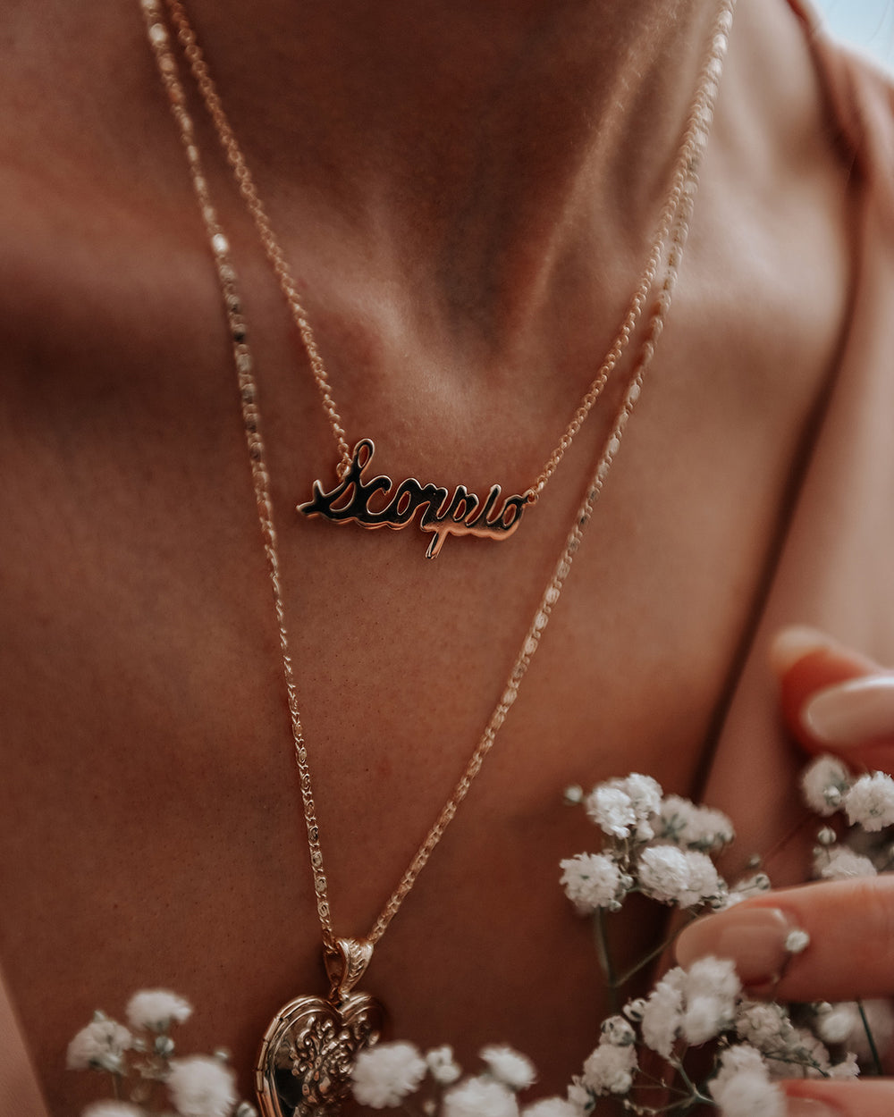 Scorpio Zodiac Nameplate Necklace