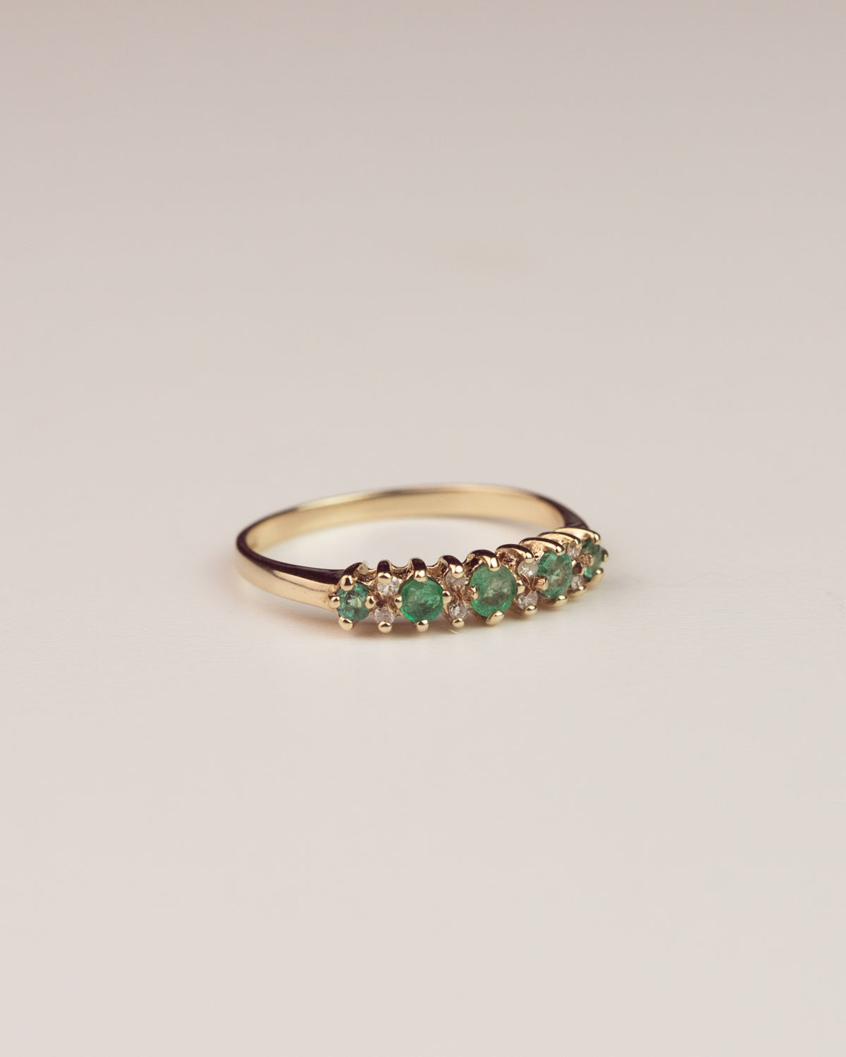 Image of Willow Exclusive Vintage 9ct Gold Emerald and Diamond Ring