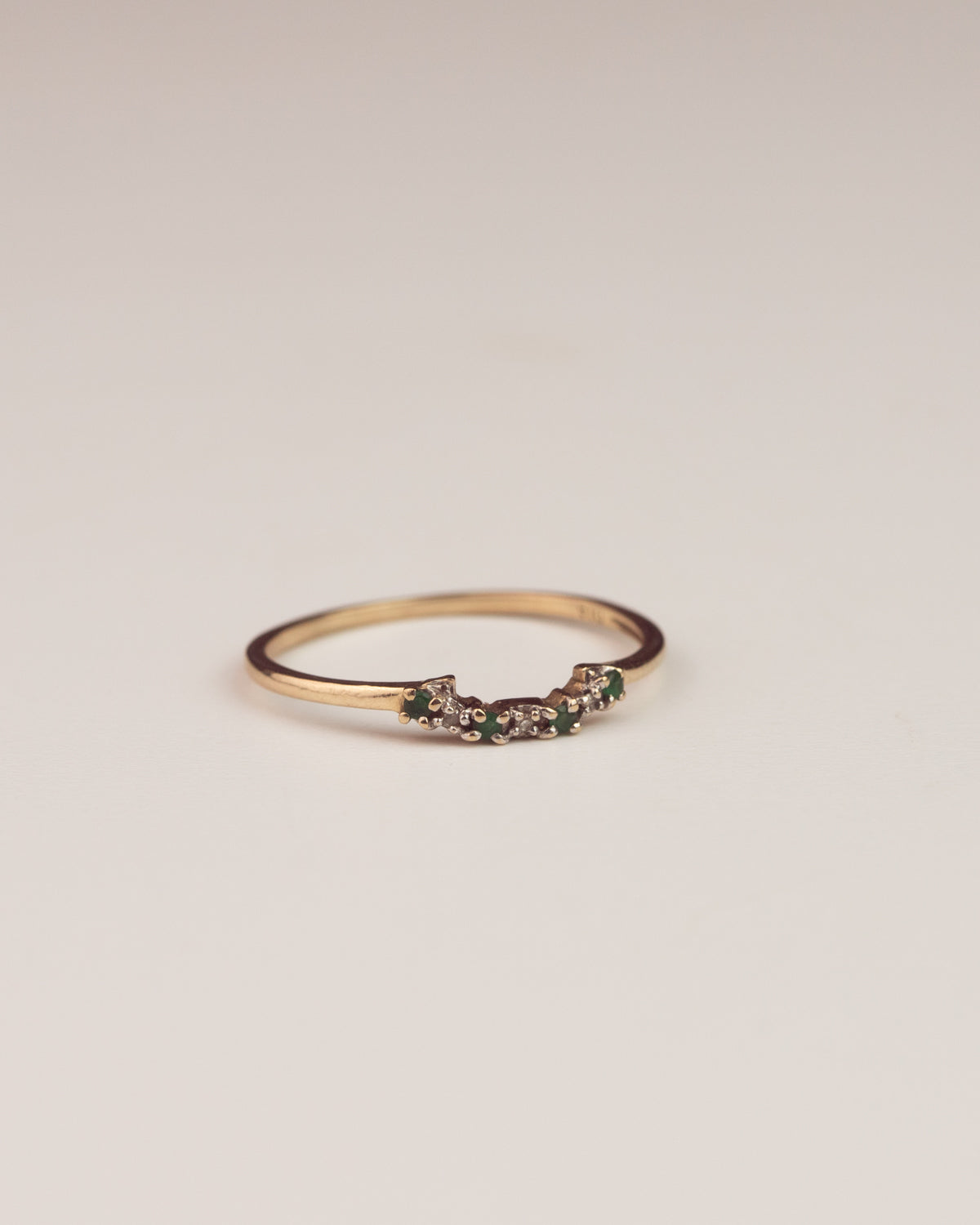Anwen Exclusive Vintage 9ct Emerald and Diamond Stacking Wishbone Ring