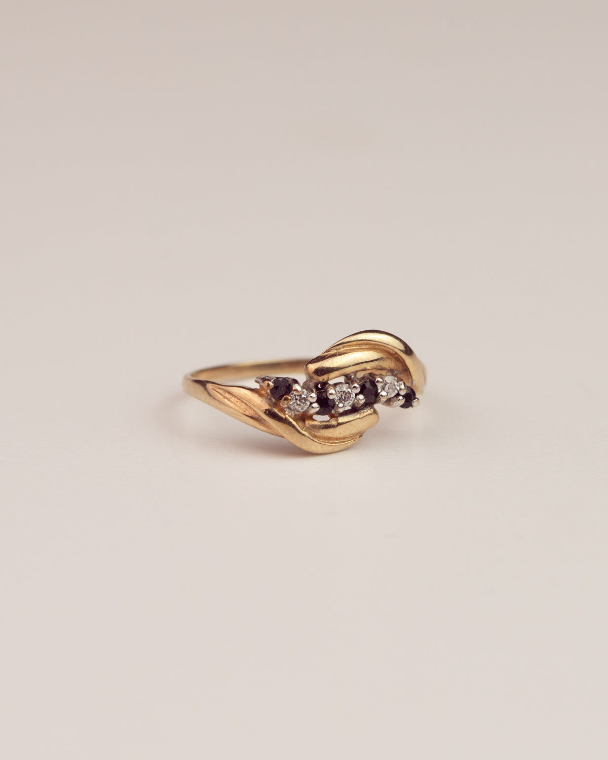 Libby Exclusive Vintage 9ct Gold Sapphire and CZ Ring