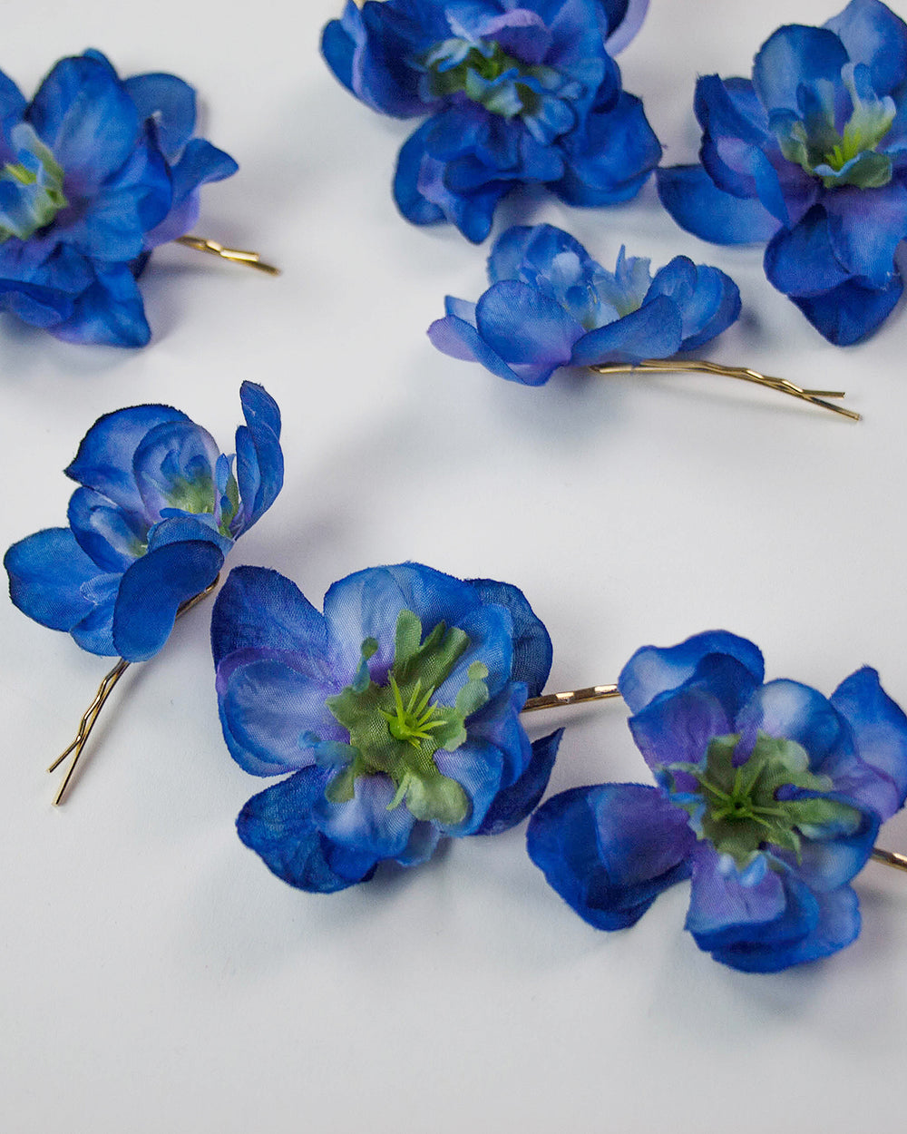 Franny Flower Hair Pins - Blue