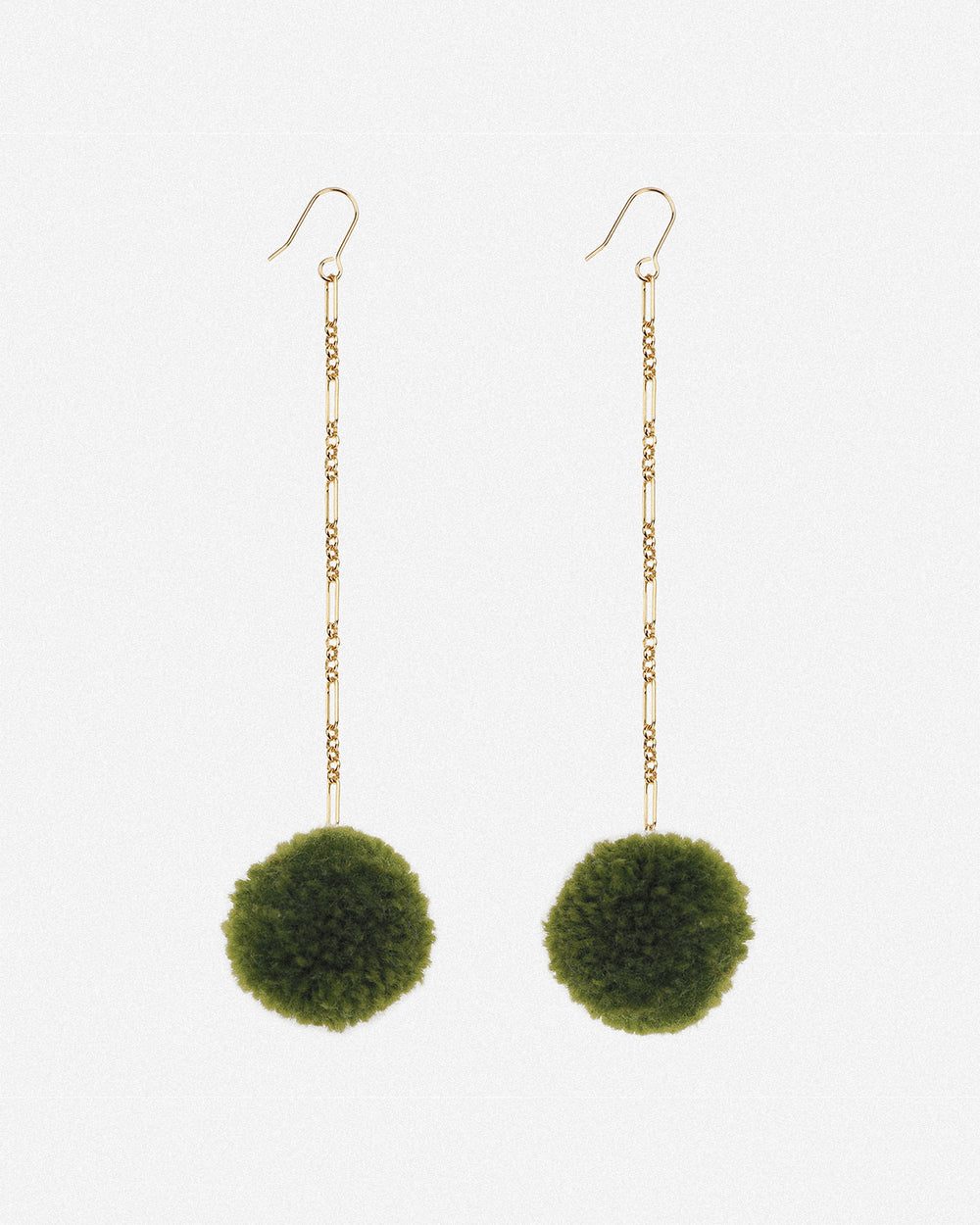 Tabitha Pom Pom Drop Earrings - Moss