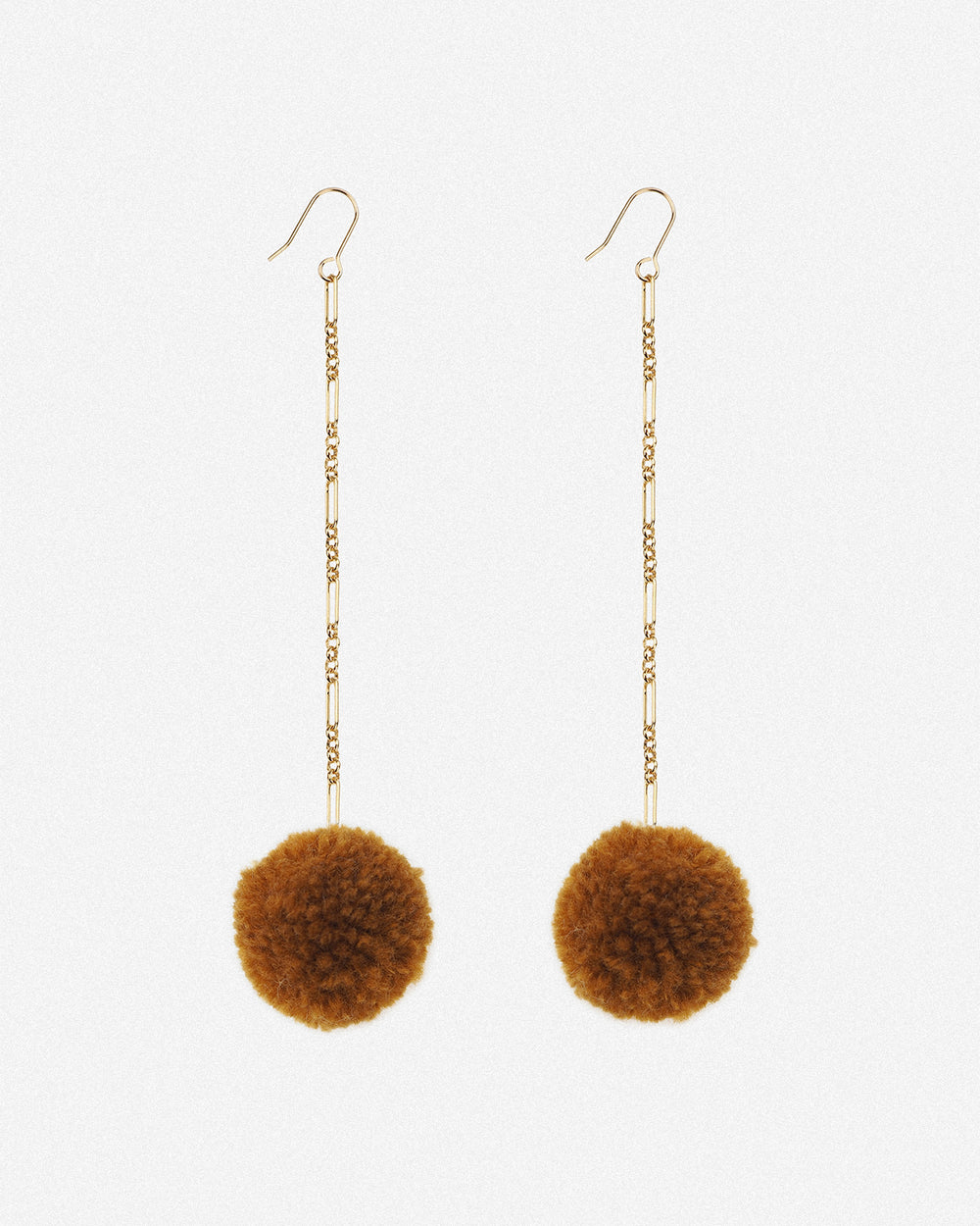 Tabitha Pom Pom Drop Earrings - Caramel