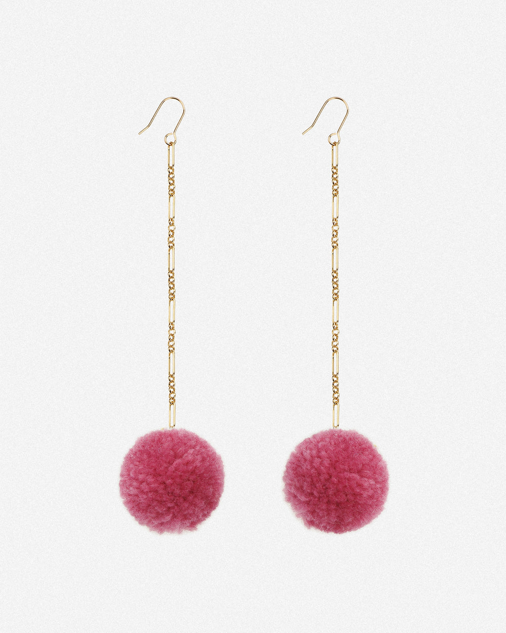 Tabitha Pom Pom Drop Earrings - Pink