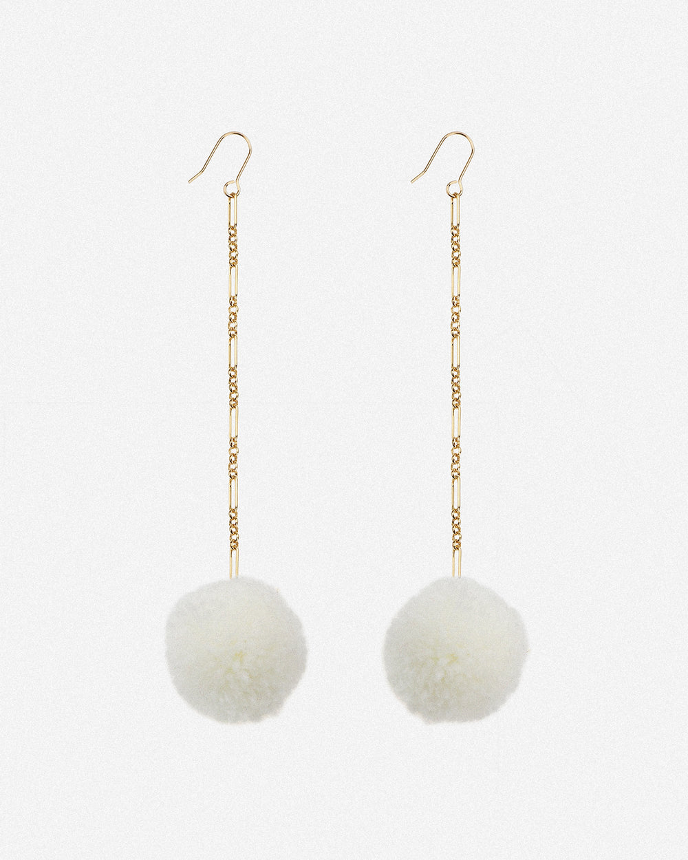 Tabitha Pom Pom Drop Earrings - White