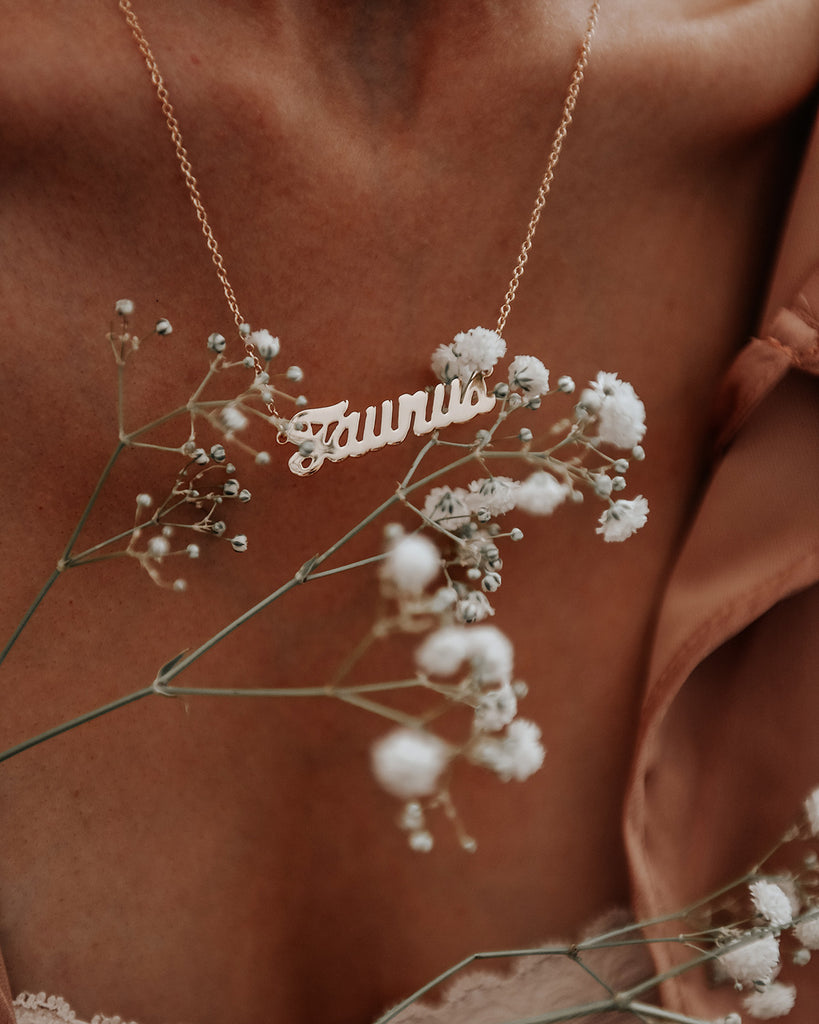 Taurus Zodiac Nameplate Necklace