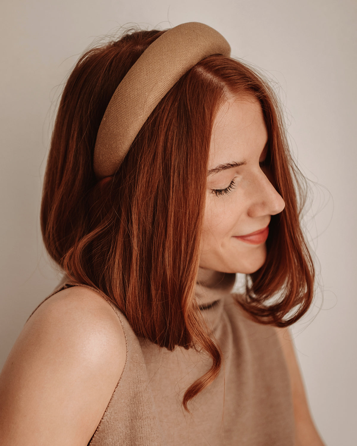 Vera Natural Linen Padded Headband