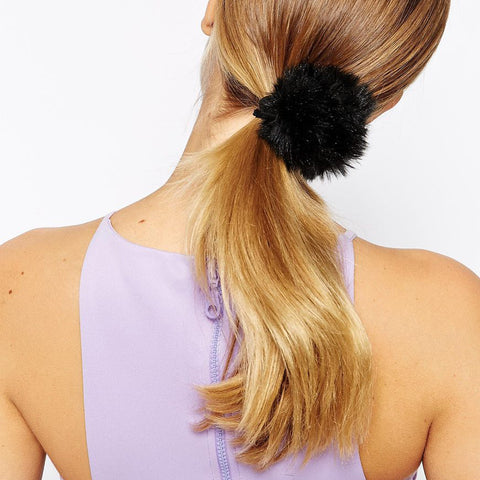 ZOOEY Black Pom Pom Hair Tie