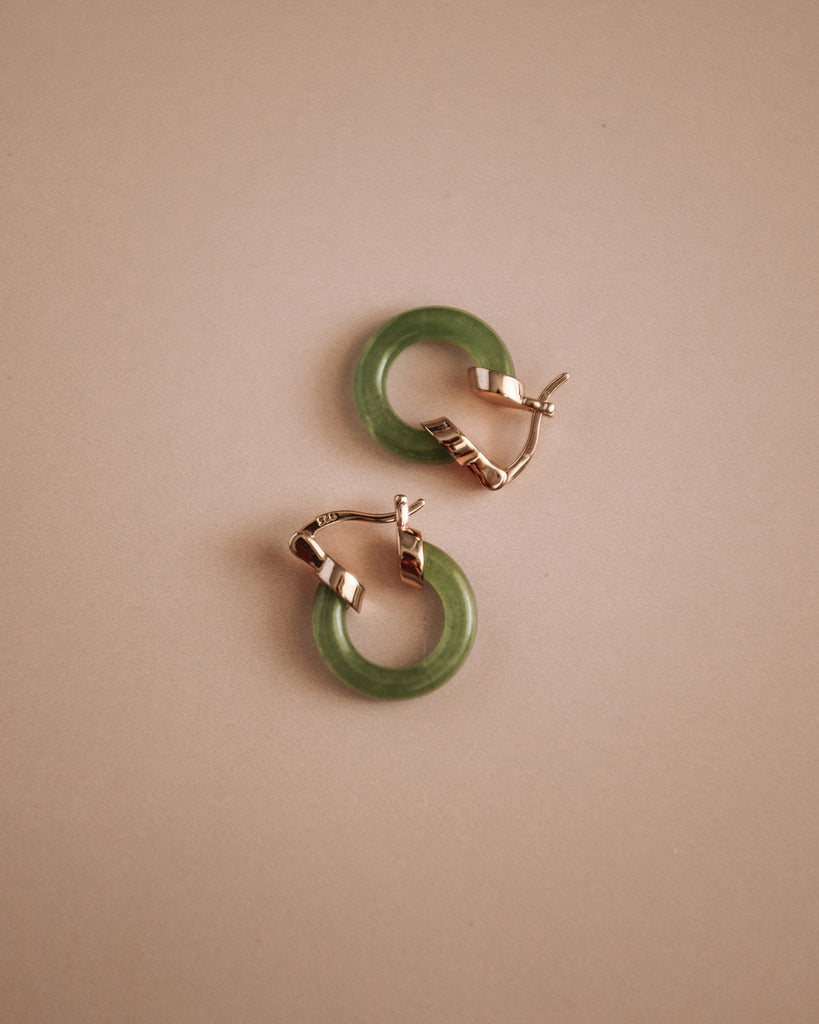 Darcy Aventurine Gemstone Hoop Earrings