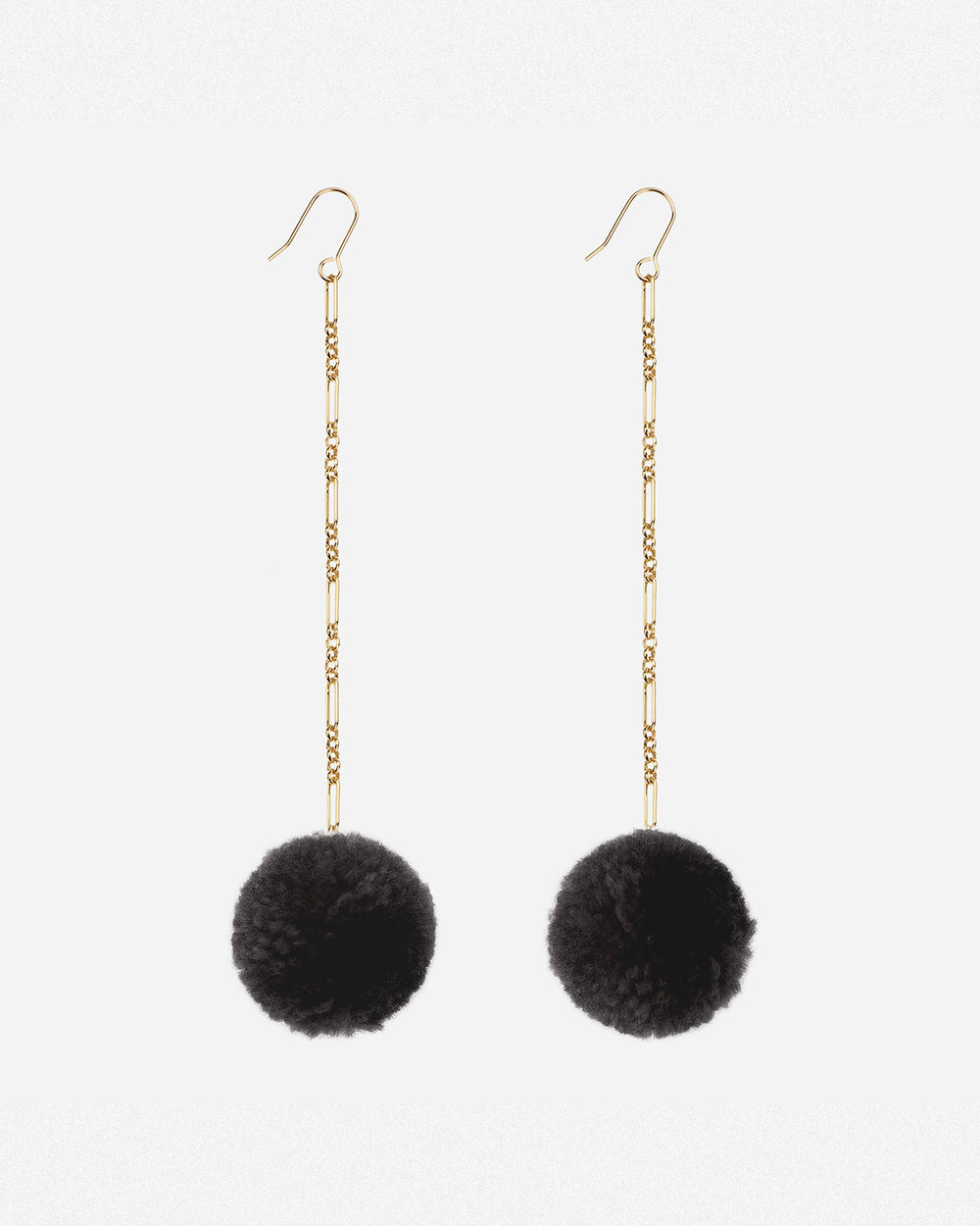 Tabitha Pom Pom Drop Earrings - Black