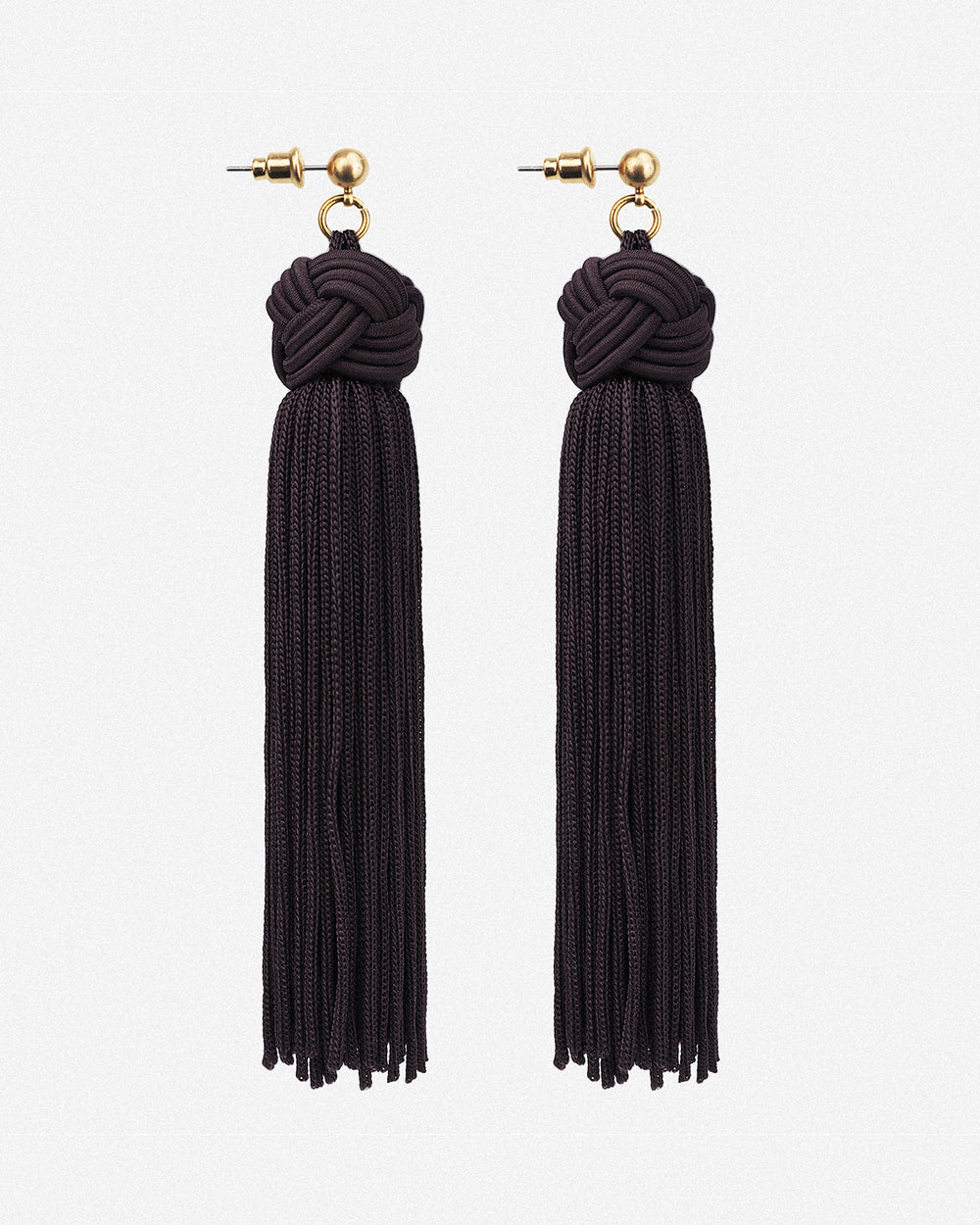 Johanna Silky Tassel Drop Earrings - Black