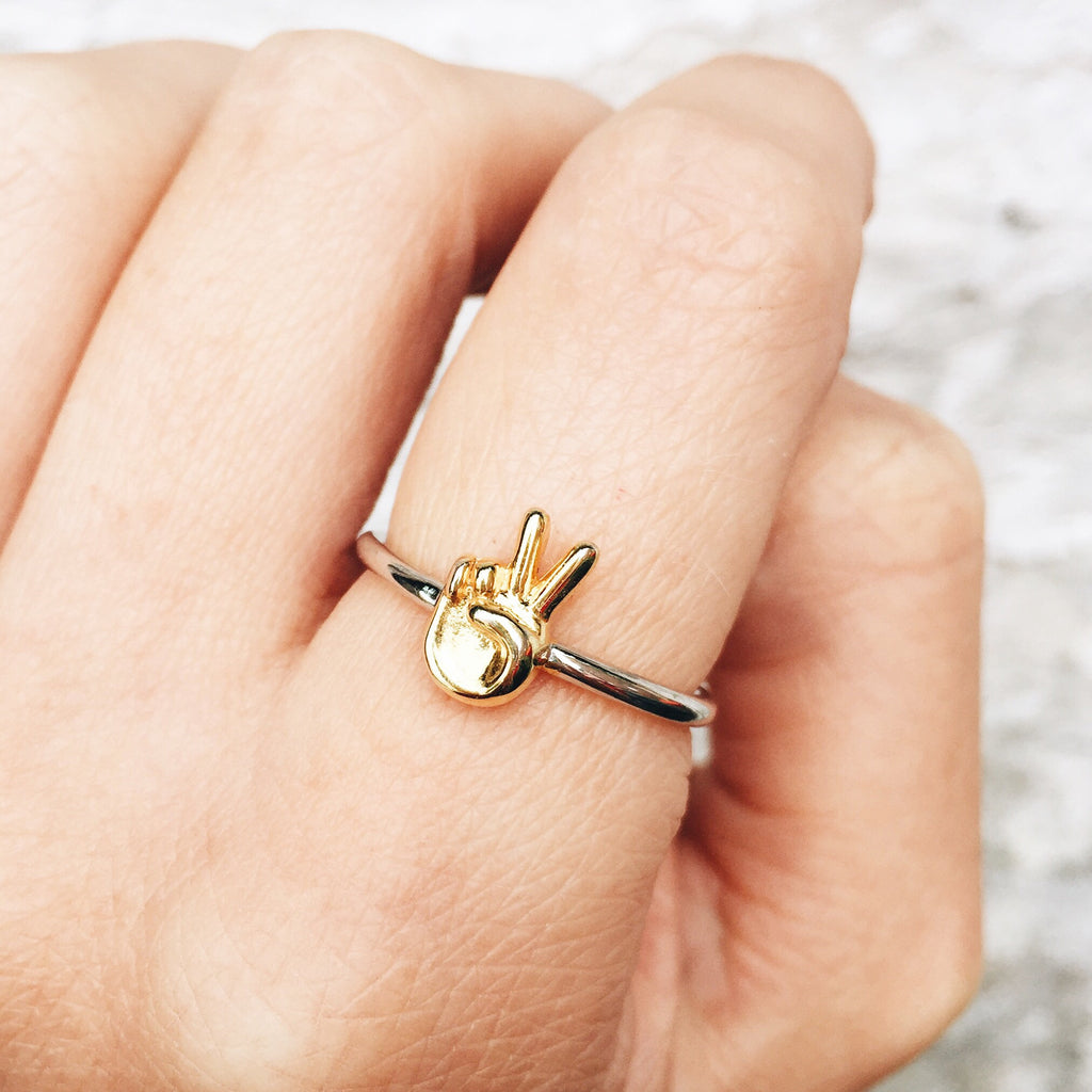 Image of PEACE Sterling Silver Emoji Ring