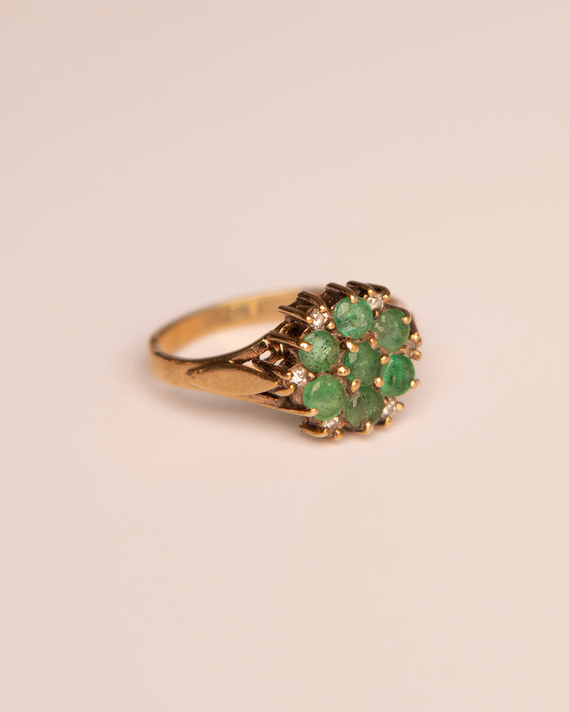 Elise 9ct Gold Emerald & Diamond Ring