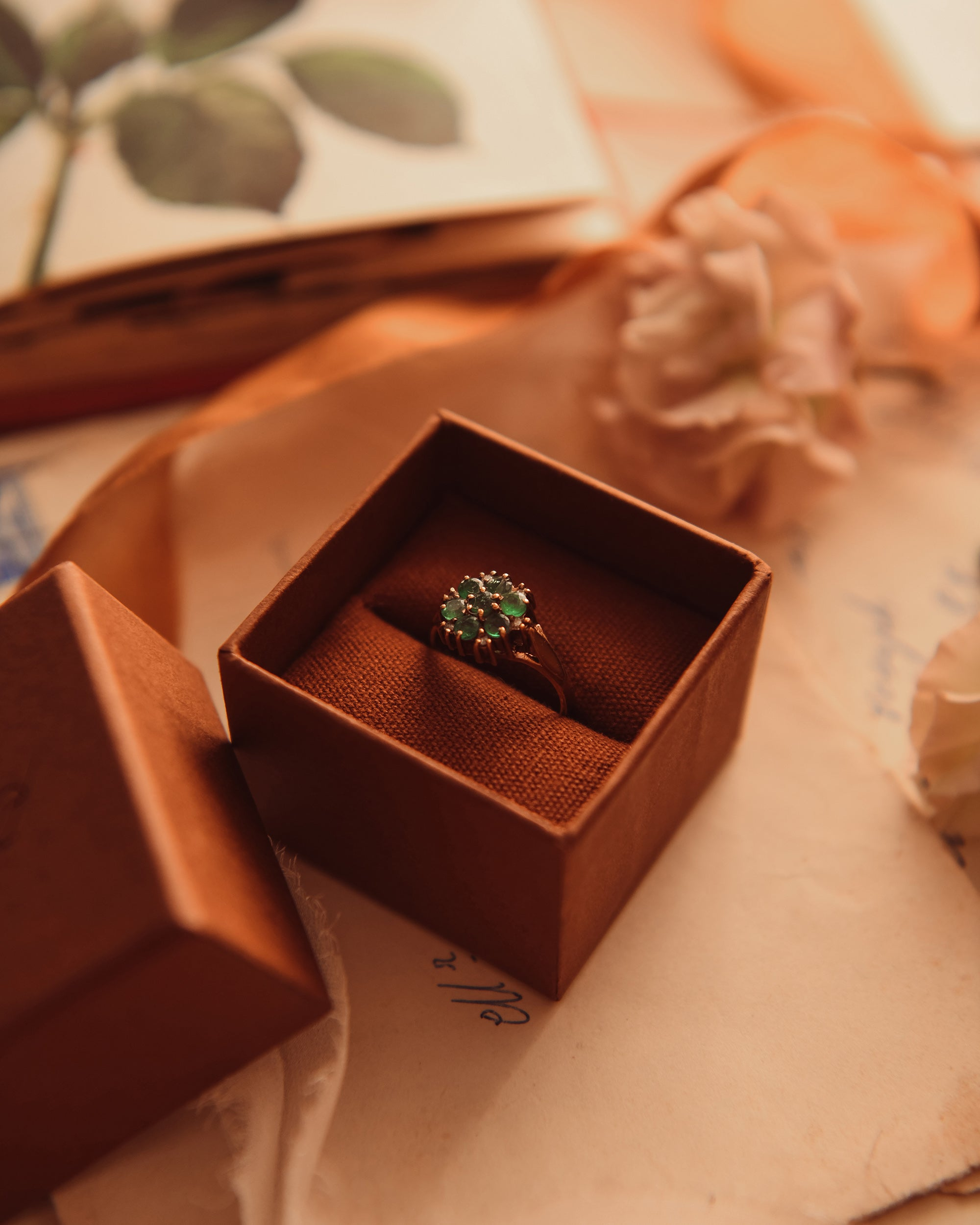 Image of Elise 9ct Gold Emerald & Diamond Ring