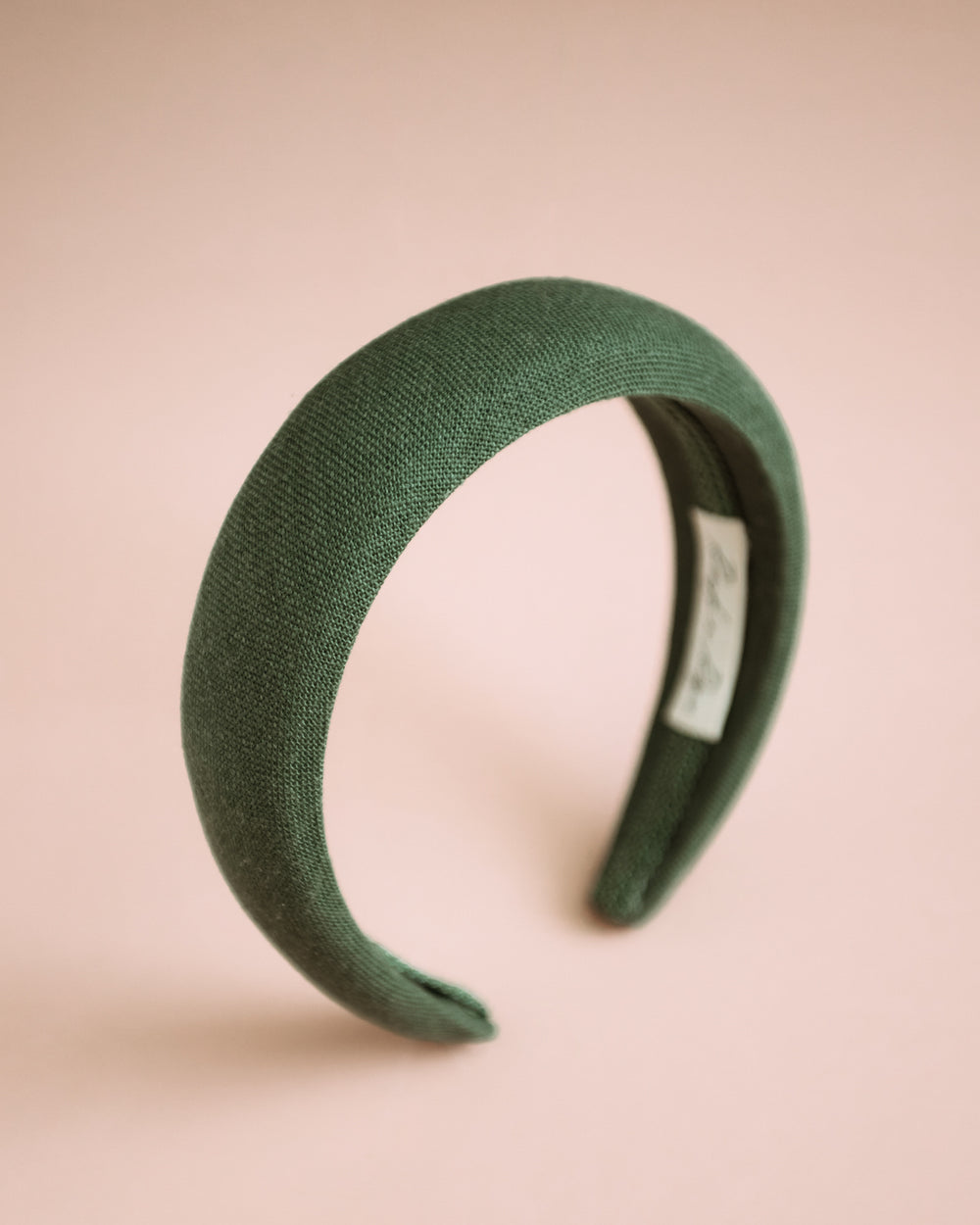 Vera Forest Green Linen Padded Headband