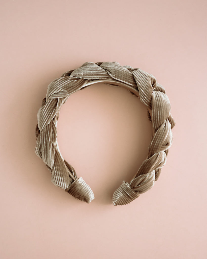 Millicent Champagne Grey Velvet Plaited Headband