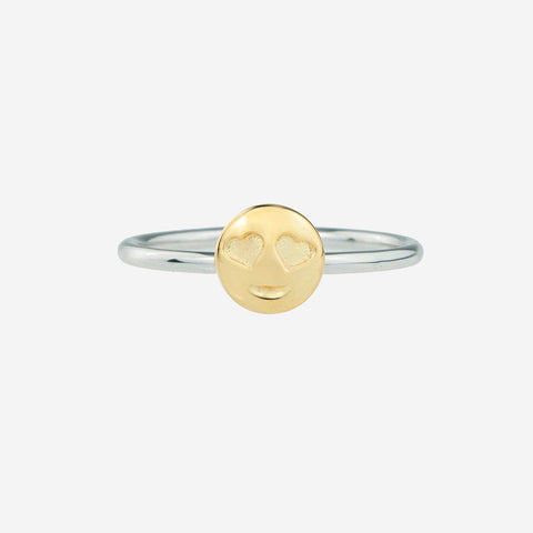 HEART EYES Sterling Silver Emoji Ring
