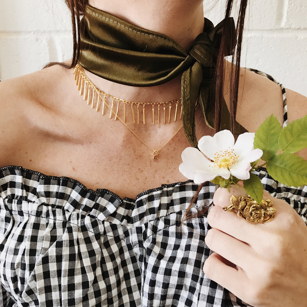 EDIE Green Silk Neck Tie Choker