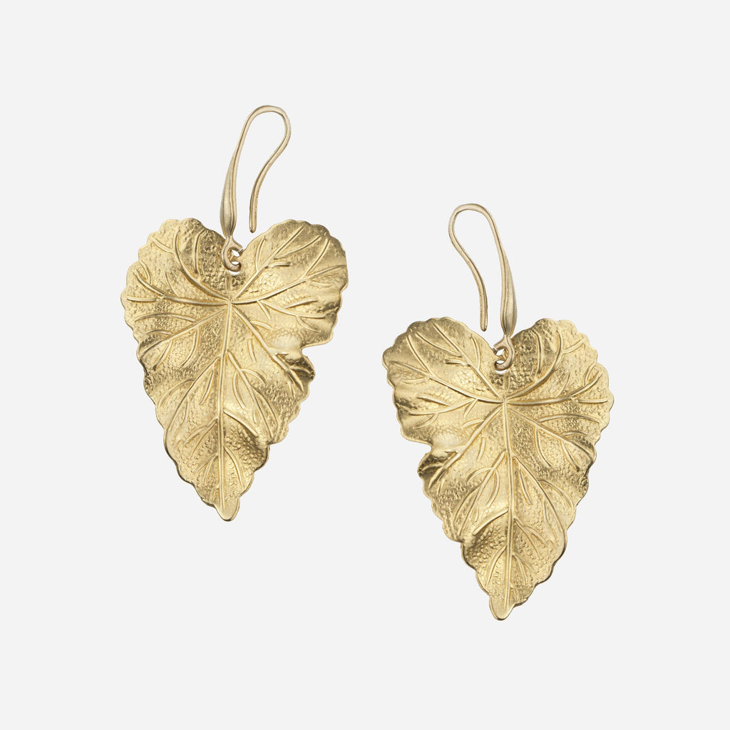 OLIVE Brass Vine Leaf Earrings