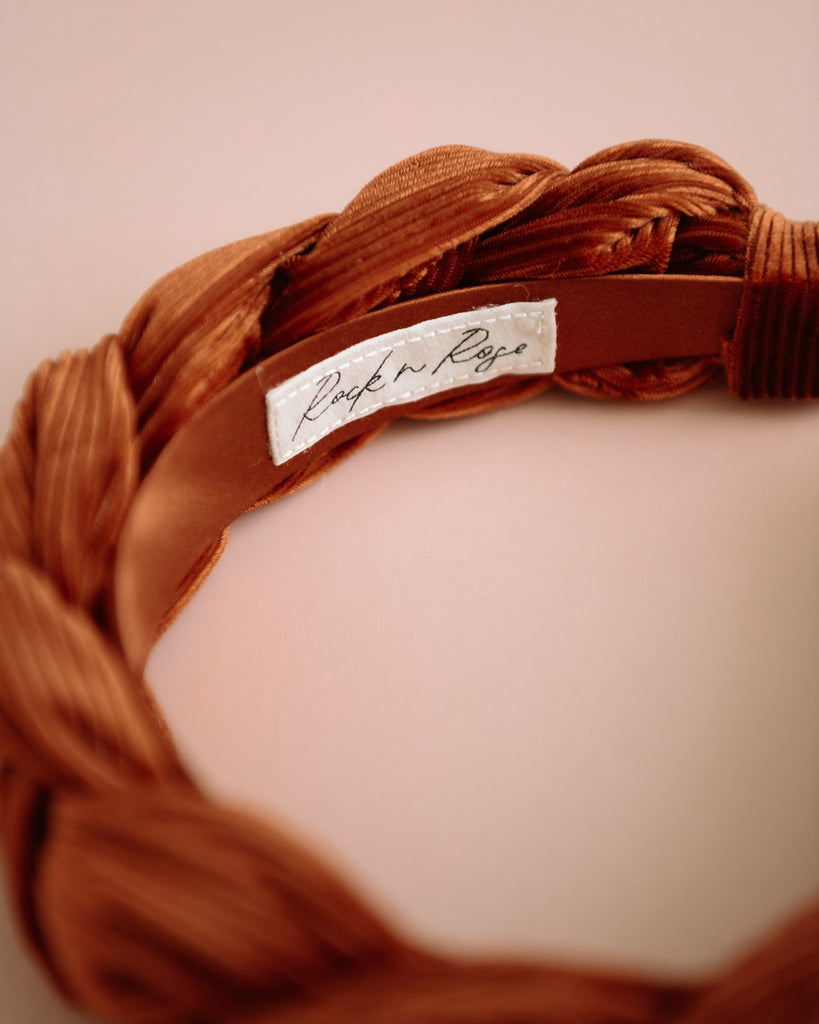 Millicent Rust Velvet Plaited Headband