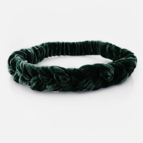 RUMI Velvet Braid Headband - Royal Green