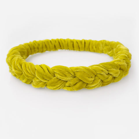 RUMI Velvet Braid Headband - Yellow
