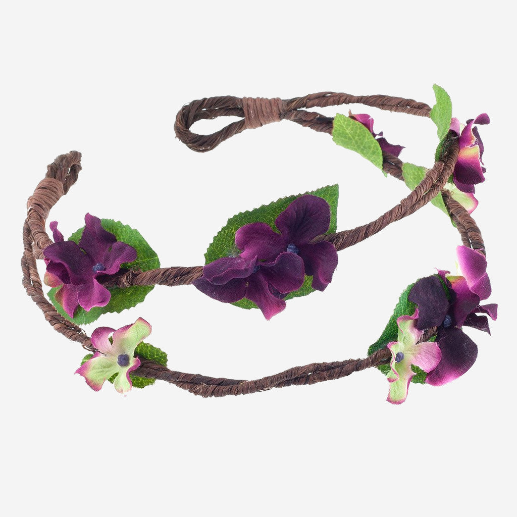 Image of RAMONA Plum Floral Crown Headband